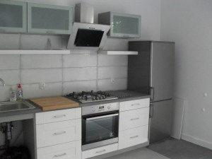 zdjęcie przedstawia wnętrze mieszkania z aneksem kuchennym na pierwszym planie
