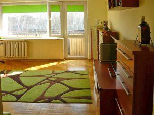 na zdjęciu luksusowy salon w mieszkaniu na sprzedaż w Warszawie na Bemowie