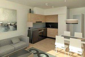 na zdjęciu salon i nakes kuchenny w mieszkaniu na sprzedaż w Warszawie na Bielanach