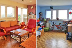 na zdjęciu salon oraz pokój dziecka w mieszkaniu na sprzedaż w Warszawie