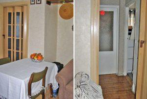 na zdjęciu salon oraz przedpokój w mieszkaniu do sprzedaży w Warszawie