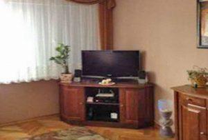 widok na fragment salonu ze sprzętem RTV w mieszkaniu na sprzedaż w Warszawie