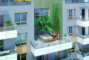 na zdjęciu widok z lotu ptaka na blok w Warszawie, w którym znajduje się oferowane na sprzedaż mieszkanie