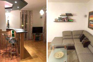 widok na salon oraz aneks kuchenny w mieszkaniu na sprzedaż w Warszawie