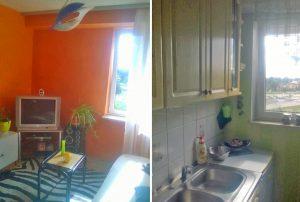 na zdjęciu po lewej salon, po prawej kuchnia w mieszkaniu w Warszawie na sprzedaż