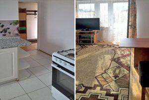 na zdjęciu po lewej fragment kuchni i salonu (po prawej) w mieszkaniu na sprzedaż w Warszawie
