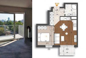 na zdjęciu fragment salonu z wyjściem na balkon oraz plan mieszkania do sprzedaży w Warszawie