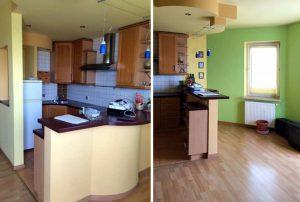 na zdjęciu fragment mieszkania z aneksem kuchennym na sprzedaż w Warszawie