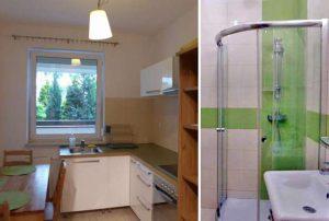 na zdjęciu aneks kuchenny i fragment łazienki w mieszkaniu do sprzedaży w Warszawie