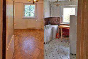 zdjęcie przedstawia salon oraz kuchnię w mieszkaniu na sprzedaż w Warszawie