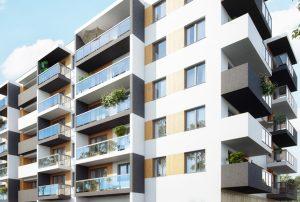 widok na blok, gdzie mieści się oferowane na sprzedaż mieszkanie Warszawa Białołęka