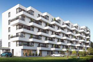 prestiżowy apartamentowiec, w którym mieści się oferowane na sprzedaż mieszkanie Warszawa Białołęka