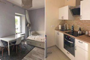 po lewej salon, po prawej kuchnia w mieszkaniu na wynajem Warszawa Praga