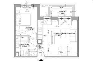 techniczny rozkład pokoi i pomieszczeń w mieszkaniu do sprzedaży Warszawa Ursus