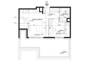 rzut techniczny z rozkładem pomieszczeń w mieszkaniu na sprzedaż Warszawa Wilanów