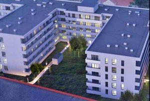 widok z lotu ptaka na osiedle, na którym mieści się oferowane do sprzedaży mieszkanie Warszawa Ząbki