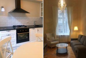 po lewej kuchnia, po prawej salon w mieszkaniu na wynajem Warszawa Centrum